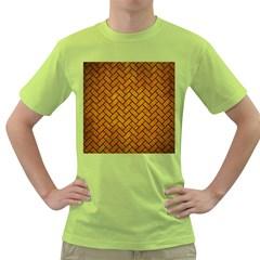 Brick2 Black Marble & Yellow Grunge Green T Shirt