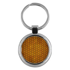 Brick2 Black Marble & Yellow Grunge Key Chains (round)  by trendistuff
