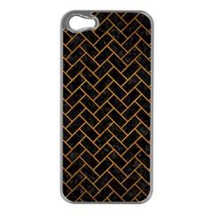 Brick2 Black Marble & Yellow Grunge (r) Apple Iphone 5 Case (silver) by trendistuff