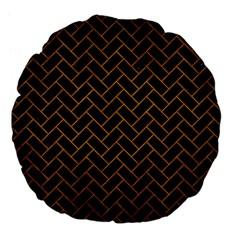 Brick2 Black Marble & Yellow Grunge (r) Large 18  Premium Flano Round Cushions by trendistuff