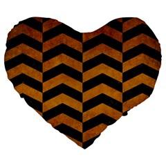Chevron2 Black Marble & Yellow Grunge Large 19  Premium Flano Heart Shape Cushions by trendistuff