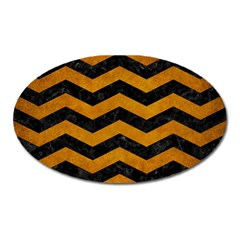 Chevron3 Black Marble & Yellow Grunge Oval Magnet