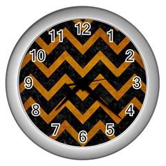 Chevron9 Black Marble & Yellow Grunge (r) Wall Clocks (silver)  by trendistuff