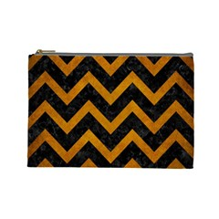 Chevron9 Black Marble & Yellow Grunge (r) Cosmetic Bag (large)  by trendistuff