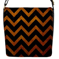 Chevron9 Black Marble & Yellow Grunge (r) Flap Messenger Bag (s) by trendistuff