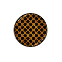Circles2 Black Marble & Yellow Grunge Hat Clip Ball Marker by trendistuff