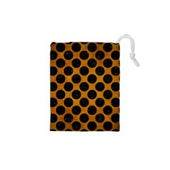 Circles2 Black Marble & Yellow Grunge Drawstring Pouches (xs)  by trendistuff