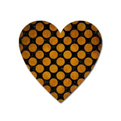 Circles2 Black Marble & Yellow Grunge (r) Heart Magnet by trendistuff
