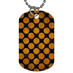 Circles2 Black Marble & Yellow Grunge (r) Dog Tag (two Sides)