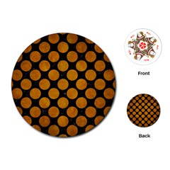 Circles2 Black Marble & Yellow Grunge (r) Playing Cards (round)  by trendistuff