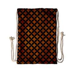 Circles3 Black Marble & Yellow Grunge Drawstring Bag (small) by trendistuff