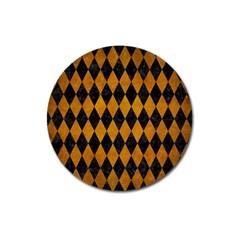 Diamond1 Black Marble & Yellow Grunge Magnet 3  (round) by trendistuff