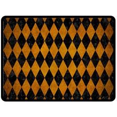 Diamond1 Black Marble & Yellow Grunge Double Sided Fleece Blanket (large)  by trendistuff