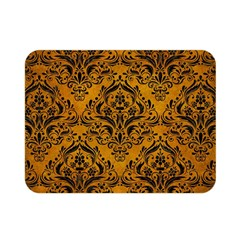 Damask1 Black Marble & Yellow Grunge Double Sided Flano Blanket (mini)  by trendistuff