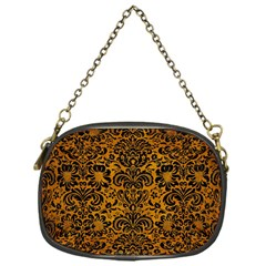 Damask2 Black Marble & Yellow Grunge Chain Purses (one Side)  by trendistuff