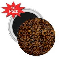 Damask2 Black Marble & Yellow Grunge (r) 2 25  Magnets (10 Pack)  by trendistuff