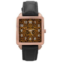Damask2 Black Marble & Yellow Grunge (r) Rose Gold Leather Watch  by trendistuff