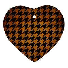 Houndstooth1 Black Marble & Yellow Grunge Ornament (heart) by trendistuff