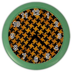 Houndstooth2 Black Marble & Yellow Grunge Color Wall Clocks by trendistuff
