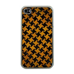 Houndstooth2 Black Marble & Yellow Grunge Apple Iphone 4 Case (clear)