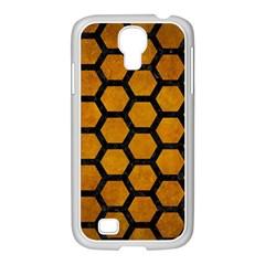 Hexagon2 Black Marble & Yellow Grunge Samsung Galaxy S4 I9500/ I9505 Case (white) by trendistuff