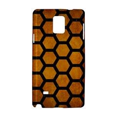 Hexagon2 Black Marble & Yellow Grunge Samsung Galaxy Note 4 Hardshell Case by trendistuff