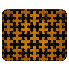 Puzzle1 Black Marble & Yellow Grunge Double Sided Flano Blanket (medium)  by trendistuff