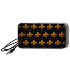 Royal1 Black Marble & Yellow Grunge Portable Speaker by trendistuff