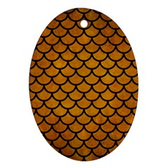 Scales1 Black Marble & Yellow Grunge Oval Ornament (two Sides) by trendistuff