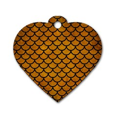 Scales1 Black Marble & Yellow Grunge Dog Tag Heart (two Sides) by trendistuff