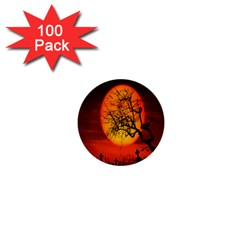 Helloween Midnight Graveyard Silhouette 1  Mini Buttons (100 Pack)  by Mariart