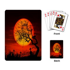 Helloween Midnight Graveyard Silhouette Playing Card by Mariart