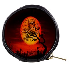 Helloween Midnight Graveyard Silhouette Mini Makeup Bags by Mariart