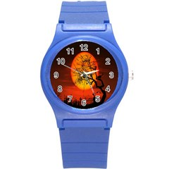 Helloween Midnight Graveyard Silhouette Round Plastic Sport Watch (s) by Mariart