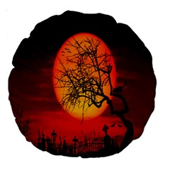 Helloween Midnight Graveyard Silhouette Large 18  Premium Round Cushions by Mariart