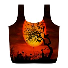 Helloween Midnight Graveyard Silhouette Full Print Recycle Bags (l)  by Mariart