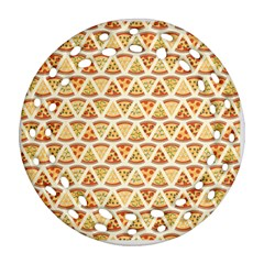 Food Pizza Bread Pasta Triangle Round Filigree Ornament (two Sides) by Mariart