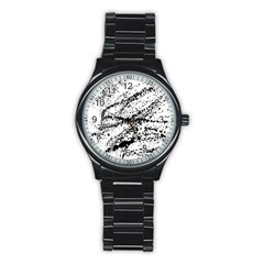 Ink Splatter Texture Stainless Steel Round Watch by Mariart