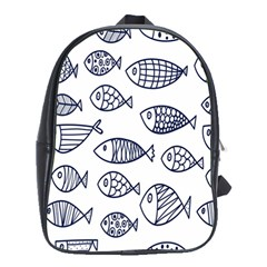 Love Fish Seaworld Swim Blue Sea Water Cartoons School Bag (xl) by Mariart