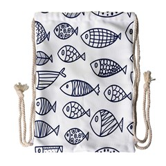 Love Fish Seaworld Swim Blue Sea Water Cartoons Drawstring Bag (large) by Mariart