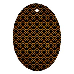 Scales2 Black Marble & Yellow Grunge (r) Oval Ornament (two Sides) by trendistuff