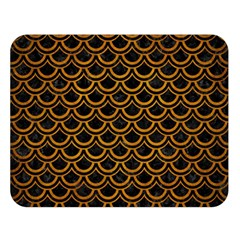 Scales2 Black Marble & Yellow Grunge (r) Double Sided Flano Blanket (large)  by trendistuff
