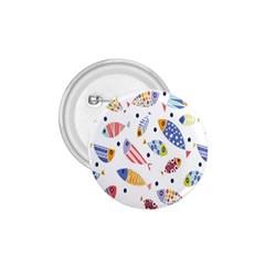 Love Fish Seaworld Swim Blue White Sea Water Cartoons Rainbow 1 75  Buttons by Mariart