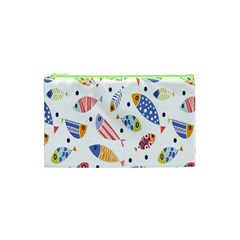 Love Fish Seaworld Swim Blue White Sea Water Cartoons Rainbow Cosmetic Bag (xs) by Mariart