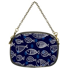 Love Fish Seaworld Swim Blue White Sea Water Cartoons Chain Purses (one Side)  by Mariart