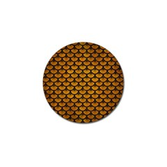Scales3 Black Marble & Yellow Grunge Golf Ball Marker (4 Pack) by trendistuff