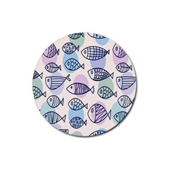 Love Fish Seaworld Swim Blue White Sea Water Cartoons Rainbow Polka Dots Rubber Coaster (round)  by Mariart