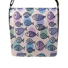 Love Fish Seaworld Swim Blue White Sea Water Cartoons Rainbow Polka Dots Flap Messenger Bag (l)  by Mariart