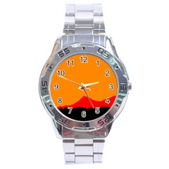 Mountains Natural Orange Red Black Stainless Steel Analogue Watch by Mariart