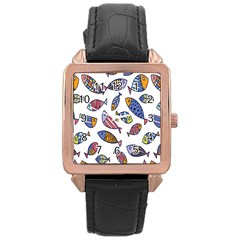 Love Fish Seaworld Swim Rainbow Cartoons Rose Gold Leather Watch  by Mariart